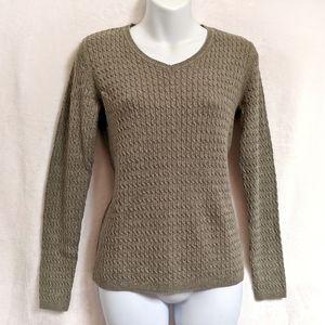 Karen Scott Cable-Knit V-Neck Sweater
